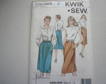 Pattern Vintage Ladies Skirts 2 Styles Sizes 6 to 12 Kwik Sew 1329 V