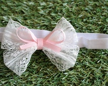 Vintage lace bow hair tie , dainty pink bow,  newborn baby , white lace  hairbow for christening, baptism, new baby headband