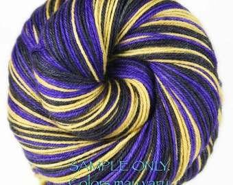 "Dyed to Order: Self-striping Hand-dyed Sock Yarn - """"PURPLE - GOLD - BLACK"" - Football yarn - Baseball yarn - School colors yarn - Baltimore"