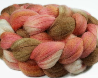 PEACH BLUSH COBBLER Polwarth/Silk Roving - 4.0 oz