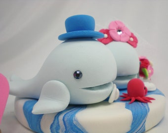 Custom Wedding Cake Topper--Whale Love with Ocean Base for Ocean Theme Wedding