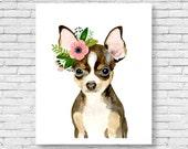 Watercolor chihuahua, watercolor dog, watercolor animal, kids posters, prints, nursery animals, nursery decor, watercolor puppy,