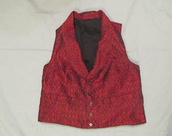 Size 36 Civil War era vest -red and black silk - black shell buttons - 2 pockets - yoke collar - black cotton lining & back - period correct