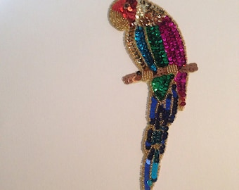SEQUIN Parrot Applique -- for Jackets, Sweaters, Jeans, Bookbags, Pillows, Wall Art, Lamp Shades, Artwork or Collage -- Stunning!