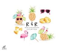 Pineapple clip art - flamingo digital download - Tropical watercolour illustrations - Printable florida graphics - Beach party invite art