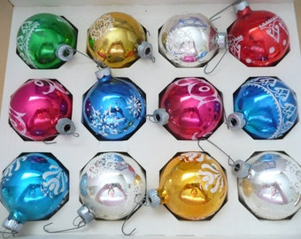 Box of 12 Shiny Brite Poloron Flocked Christmas Balls
