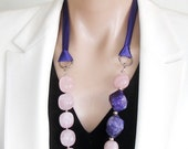 ASHIRA CLOSING SALE: A Favorite -  Ashira Yummy Candy Pink Quartz with Faceted Purple Brazilian Agate - Luscious
