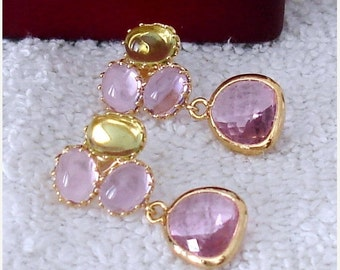 SHOP CLOSING SALE: Ashira My Flower Garden Gold Drop Earrings Amethyst, Green Amethyst, Pink - Stud
