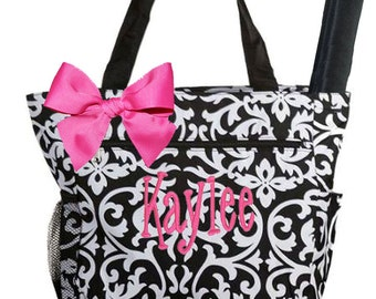 Personalized Black & White Damask Pattern, Pink Accents Diaper Bag with Changing Pad
