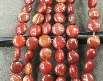 Red Jasper Stone 10mm round coin beads- 38pcs/strand
