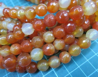 5 str (190pcs beads) -Brownish Red Agate 10mm Round Beads faceted