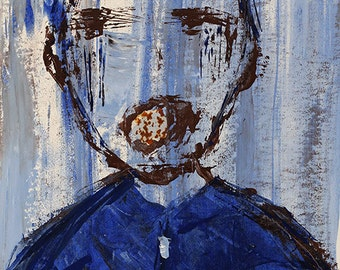 Original acrylic painting of young boy screaming or crying - blue outsider art painting. Neuroesthetics. Hospital art