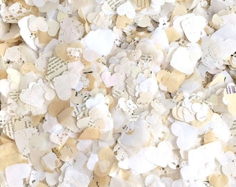 HEART CONFETTI - Rustic, Vintage Paper, Tissue and Doily Mix - Party + Wedding Confetti, Wedding Decor, Table Decoration