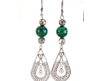Sterling Silver & Green Malachite Bead Earrings - Teardrops with Rosebud Bead Accents