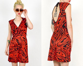 80's Red and Black Cut Out Back Patterned Mini Dress size - S/M