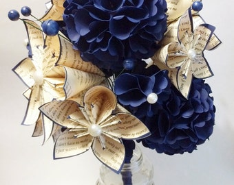 Hydrangea Bouquet of Paper Flowers- 12 inch bridal bouquet, origami art, kusudama flowers, one of a kind wedding bouquet, anniversary gift