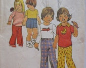Toddler's Vintage Sewing Pattern - Pants, Shorts and Pullover Top  - Simplicity 7061 - Size 1, Chest 20