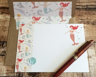Sea Tales - Monogram W Mermaid Note Card Set with Hand Lined Kraft Envelopes | Personalized teacher's gift, Mermaid lovers