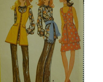 """1970s Long Vest Pattern, Peasant Blouse, Pants, Mini Skirt, Fitted Bodice, Scoop Neck, Lined, Flaps, McCalls No. 2588 Size 13 (Bust 35""""89cm)"""