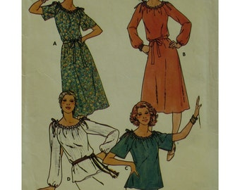 Peasant Blouse Pattern, Tie Shoulders, Long/Short Sleeves, Loose Fitting Dress, Butterick No. 5969 Size Small (8-10)