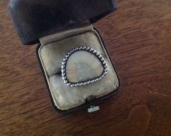 Fossilized bone native american sterling ring