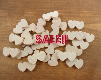 "50 Double Hearts 1 1/8"" W x 5/8"" H x 3/16"" Thick Unfinished Wood Heart Cutouts Cut Out"