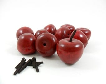 "Wood Apple or Cherry Painted Red Solid Wood Miniatures 1 1/4"" H x 1 3/8"" W - 10 Pieces"