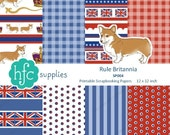 Rule Britannia Digital Scrapbooking Papers - British union jack flag, corgi, red, white & blue, printable Instant Download, 12x12 inch SP004