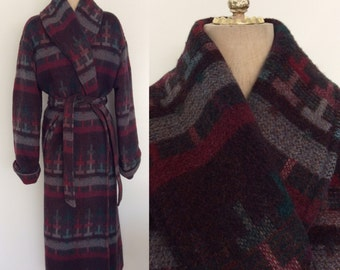 1980's Purple Southwestern Long Wrap Wool Coat Belted Vintage Coat Size Medium Large XL by Maeberry Vintage