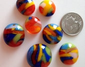 7 Multi Colored Fused Glass Cabochons Cabs from Fused Glass By Ginger