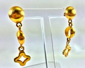Gold charm dangle earrings
