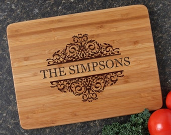 Personalized Cutting Board, Personalized Housewarming Gift, Engraved Bamboo Cutting Boards, Host or Hostess Gift, Bridal Shower-12 x 9 D39