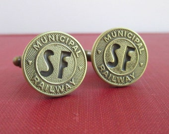 SAN FRANCISCO Railway Token Cuff Links - Vintage SF Gold Coins, Repurposed