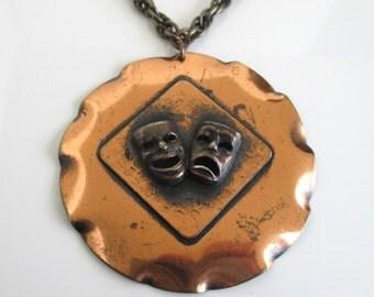 Lg. Copper Comedy & Tragedy Pendant Necklace - Vintage
