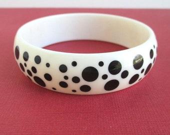 Black Polka Dot Bracelet - Vintage Avon, Acrylic / Plastic