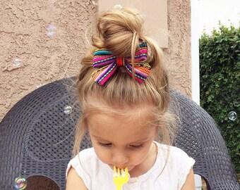 Serape Bow, Fabric bow, Fiesta Bow, Hair Bow, Mexican Bow