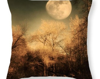 Art Throw Pillow Cover Full Moon photography photo Pillow Covers gothic night sky brown trees nature photograph home decor