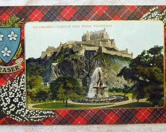 Clan Fraser antique postcard showing Edinburgh Castle