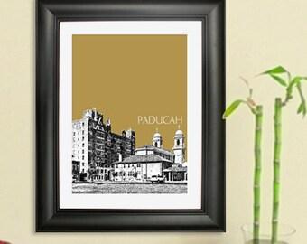 Paducah Skyline Poster #1 - Paducah Kentucky City Skyline - Art Print - 8 x 10 Choose Your Color
