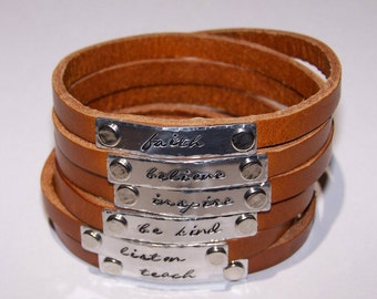 Personalize - Multi Strand Bangle Wrap Leather Bracelet - Your Choice of Words - Hand Stamped - Metal Stamped - Teen - Womens - Phrase