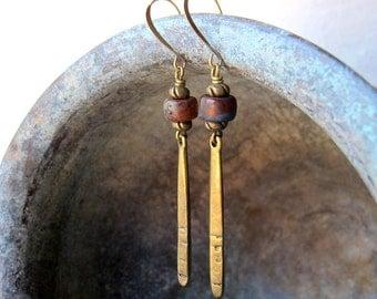 Bohemian Dangle Earrings, Long Rustic Earrings, Czech Glass Jewelry, Boho Chic, Antique Brass Tone, Bohemian Bijoux, Festival Fashion