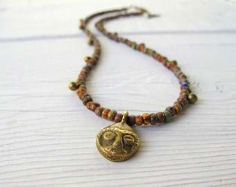 Mask Charm Necklace, Short Boho Chic Necklace, Bohemian Bijoux, Festival Fashion, Coachella Style, Tribal Hippie, Rustic Czech Glass Picasso