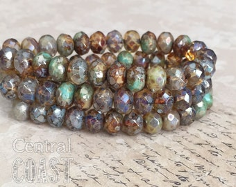 8mm x 6mm Czech Glass Heavy Picasso Bead Spacer Rondelle Rondell  (10) Bohemian Luxe Champagne Turquoise Opalite Mix - Central Coast Charms
