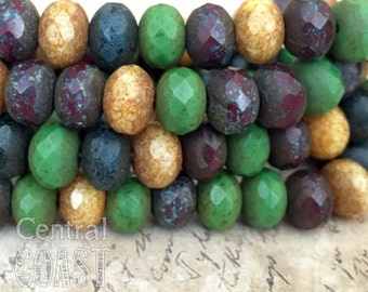8mm x 6mm Czech Glass Bead Spacer Rondelle Donut (10) Bohemian Old World Mix - Yellow Green Red Blue Heavy Picasso - Central Coast Charms