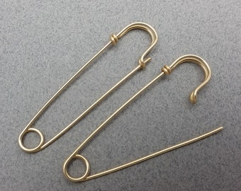 Large Heavy Gauge Gold Filled Safety Pin Earrings, One Pair OR One Earring, 2 inches long