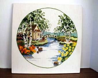 Vintage Crewel embroidery/ needlework picture, stretched not framed