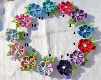 Kanzashi Flower Hairclip in Polka Dot Print