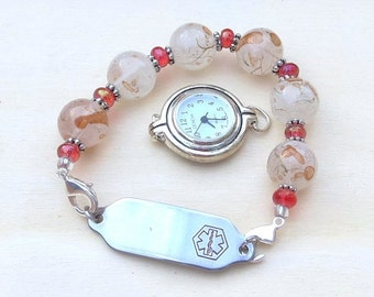 Medical ID Tag or Watch Interchangeable Beaded Bracelet