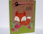 Hello Handsome Fox Greeting Card for Him - Birthday, Anniversary, Love Handmade Paper Card with Coordinating Embellished Envelope