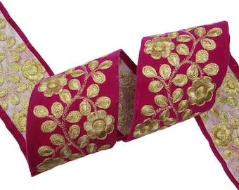 Golden Floral Embroidered Pink Trim Lace Sari Border Floral Velvet 6.8 Cm Wide Trim Dress Sewing Embroidered  DecorativeTrim By 1 Yard FT515